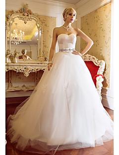 볼 드레스 스윗하트 스윕 / 브러쉬 트레인 새틴 튤 웨딩 드레스 와 아플리케 으로 LAN TING BRIDE®