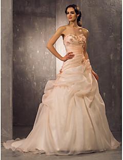 billiga Brudklänningar-A-linje / Prinsessa Hjärtformad urringning Hovsläp Organza Bröllopsklänningar tillverkade med av LAN TING BRIDE®