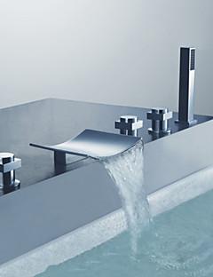 tanie Wodospad-Bateria Wannowa - Zawiera prysznic ręczny Chrom Wanna i prysznic Trzy uchwyty pięć otworów
