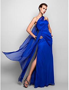 저렴한 특별한 이벤트 드레스-시스 / 칼럼 원 숄더 바닥 길이 쉬폰 포멀 이브닝 / 밀리터리 볼 드레스 와 옆면 드레이핑 으로 TS Couture®