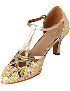 cheap -Women's Modern Shoes / Ballroom Shoes Sparkling Glitter / Leatherette Heel Customized Heel Non Customizable Dance Shoes Silver / Gold