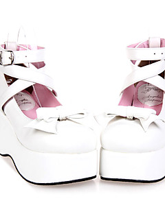 billiga Lolitamode-Skor Söt Lolita Handgjord Kilklack Skor Enfärgad 7 cm CM Till PU-läder / Polyuretan Läder Halloweenkostymer