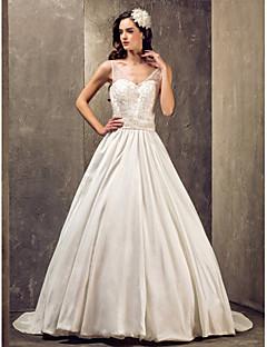 billiga Brudklänningar-A-linje / Prinsessa V-hals Svepsläp Spets / Taft Bröllopsklänningar tillverkade med av