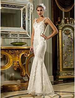 cheap True Allure-Mermaid / Trumpet Queen Anne Floor Length Lace Stretch Satin Wedding Dress with Beading by LAN TING BRIDE®