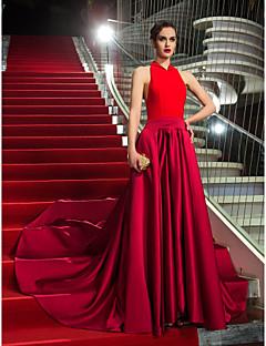 Aライン ホルター アシメントリー サテン ジャージー フォーマルイブニング ダンスパーティー ドレス とともに リボン 〜によって TS Couture®