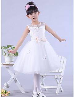 billige Skjørt-A-line knelengde blomst jente kjole - satin tulle ermeløs bateau hals med bue