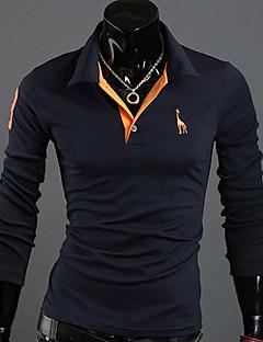 ゲズィメンズソリッドカラーの鹿刺繍長袖ポロシャツ