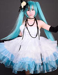 """billige Videospill Kostymer-Inspirert av Vokaloid Hatsune Miku video Spill  """"Cosplay-kostymer"""" Cosplay Klær / Kjoler Lapper Kjole / Hanske / Hansker Halloween-kostymer"""
