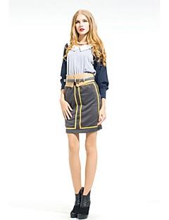 Zoely Kvinder Sexy høj talje Golden Stripe Bodycon Knee Længde Nederdel 101131Q056