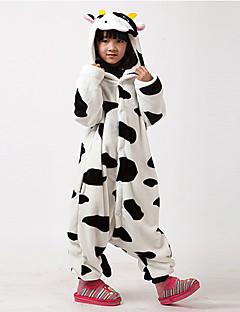 Kigurumi Pyjamas Lehmä Kokopuku Yöpuvut Asu Flanelli Fleece Musta valkoinen Cosplay varten Lapset Animal Sleepwear Sarjakuva Halloween