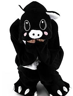 Kigurumi Pyjamas Porsas Kokopuku Yöpuvut Asu Flanelli Fleece Musta Cosplay varten Lapset Animal Sleepwear Sarjakuva Halloween Festivaali