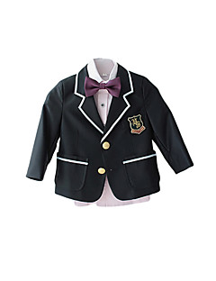 cheap Ring Bearer Suits-Black / Red / Purple Polyester Ring Bearer Suit - Four-piece Suit Includes  Jacket / Vest / Pants