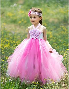 Ball kjole gulvlengde blomst jente kjole - silke tulle ermeløs halter med applikasjon