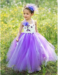 tanie Sukienki dla dziewczynek z kwiatami-Balowa Sięgająca podłoża Sukienka dla dziewczynki z kwiatami - Jedwab Tiul Bez rękawów Halter z Haft nakładany przez LAN TING BRIDE®