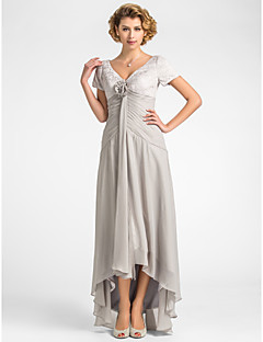 A Line V Neck Asymmetrical Chiffon Lace Mother Of The Bride Dress With Flower Pleats By Lan Ting