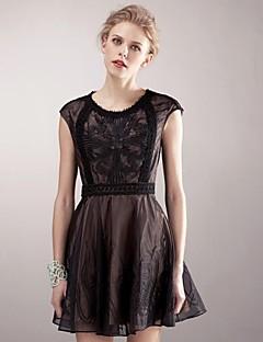 Erica.L, kvinner Heavy Emlroidery organza Lace Waist Decor Skater Dress