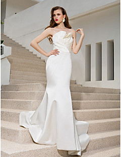 cheap True Allure-Mermaid / Trumpet Strapless Sweep / Brush Train Satin Custom Wedding Dresses with Draping Side-Draped Criss-Cross by LAN TING BRIDE®