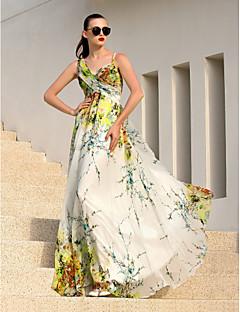 billiga Klänningar till speciella tillfällen-A-linje remmar Golvlång Chiffong Formell kväll Klänning med Korsvis av TS Couture®