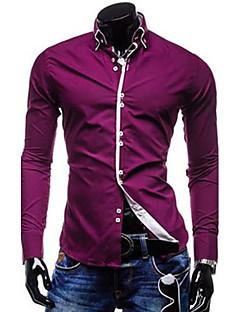 billige Herremote og klær-Bomull Tynn Kneppet krage Skjorte Herre - Ensfarget / Langermet