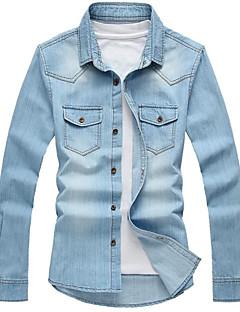 男性用のシャツの襟デニム長袖シャツ219