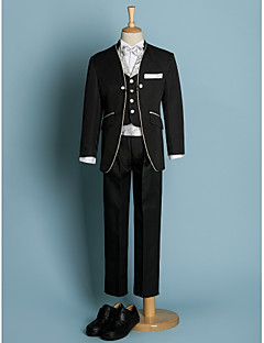 cheap Ring Bearer Suits-Ivory Black Polyester Ring Bearer Suit - Six-piece Suit Includes  Jacket Waist cummerbund Vest Shirt Pants Bow Tie