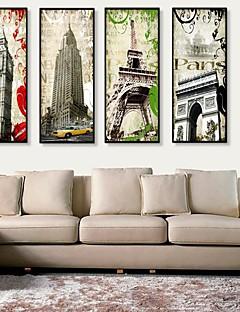 Χαμηλού Κόστους Έργα Αρχιτεκτονικής σε Κορνίζα-Καμβάς σε Κορνίζα Σετ σε Κορνίζα Αρχιτεκτονική Wall Art, PVC Υλικό με Πλαίσιο Αρχική Διακόσμηση Πλαίσιο Τέχνης Σαλόνι Υπνοδωμάτιο Κουζίνα