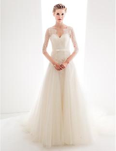 billiga Prinsessbrudklänningar-A-linje / Prinsessa V-hals Kapellsläp Genomskinlig spets Bröllopsklänningar tillverkade med Rosett(er) / Knappar / Spets av LAN TING BRIDE®