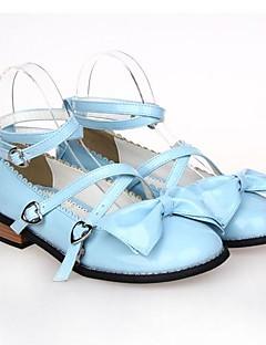 billiga Lolitamode-Skor Söt Lolita Prinsessa Platt klack Skor Rosett 2.5 CM Svart Purpur Blå Rosa Fuschia Till PU-läder/Polyuretan Läder