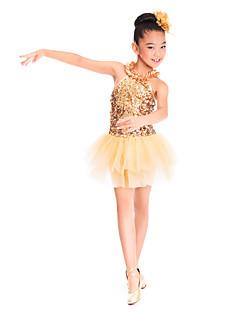 billige Danseklær til barn-Danseklær til barn / Ballet Kjoler Trening Spandex / Tyll / Paljetter Paljett / Drapert Ermeløs Naturlig / Ballett / Oppvisning / Ballrom