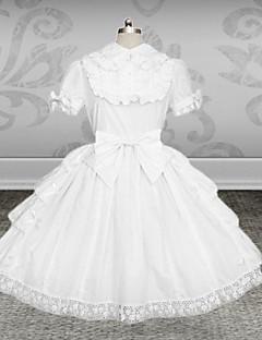 Μονοκόμματο/Φορέματα Κλασσική/Παραδοσιακή Lolita Lolita Cosplay Φορέματα Λολίτα Μονόχρωμο Κοντομάνικο Μεσαίου Μήκους Φόρεμα Ζώνη Για την