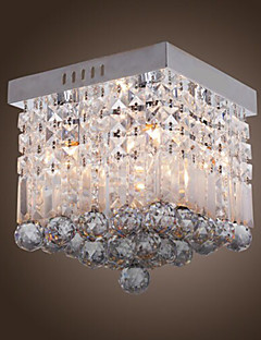 Comtemporary Crystal Flush Mount med 4 Lights in Beaded Design