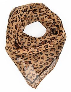 baratos Cachecóis da Moda-Mulheres Fofo Festa Trabalho Chiffon, Quadrangular - Estampado Leopardo