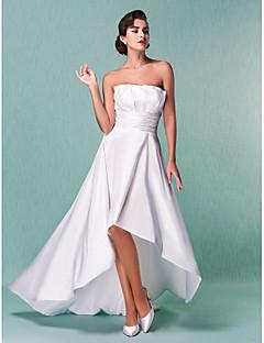 billiga Prinsessbrudklänningar-A-linje Axelbandslös Asymmetrisk Taft Bröllopsklänningar tillverkade med Draperad / Bälte / band / Veckad av LAN TING BRIDE®