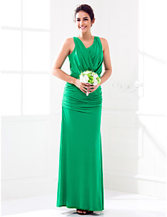 cheap Green Glam-Lanting Bride® Floor-length Jersey Bridesmaid Dress Sheath / Column Cowl Plus Size / Petite with Split Front