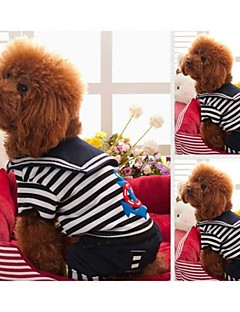billiga Hundkläder-Hund T-shirt Hundkläder Rand Svart Röd Cotton Blandat Material Kostym För husdjur