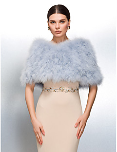 Feather Fur Wedding Party Evening Casual Wraps Shrugs