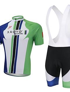billiga Cykling-XAOYO Herr Kortärmad Cykeltröja med Haklapp-shorts - Grön Cykel Klädesset, Snabb tork, Andningsfunktion