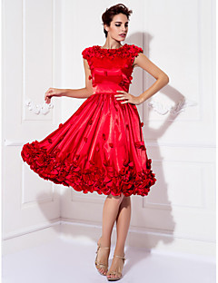 A-line תכשיט הצוואר אורך הברך למתוח סאטן שמלה לנשף ידי ts couture ®