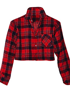 Daily Casual Spring Summer Fall Shirt,Plaid Shirt Collar Long Sleeves Cotton Opaque