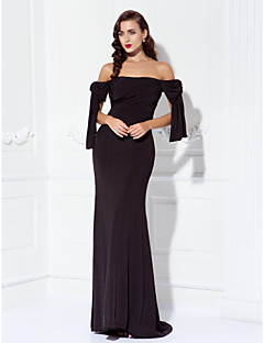 Sheath / Column Off-the-shoulder Sweep / Brush Train Jersey Prom Formal Evening Military Ball Dress with Side Draping by TS Couture®
