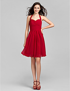 cheap Short Bridesmaid Dresses-A-Line Halter Knee Length Chiffon Bridesmaid Dress with Ruched Criss Cross by LAN TING BRIDE®