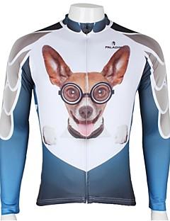 billige Sykkelklær-ILPALADINO Herre Langermet Sykkeljersey - Hvit+Himmelblå Hund Dyr Tegneserie Sykkel Jersey Topper, Pustende Fort Tørring Ultraviolet Motstandsdyktig 100% Polyester