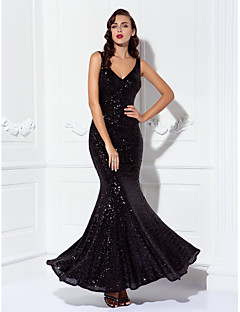 Mermaid / Trumpet V-neck Floor Length Sequined Prom Black Tie Gala Dress with Sequins by TS Couture®