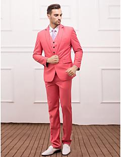 tanie Pan młody i drużbowie-Rumieniec Różowy Jendolity kolor Opinający / a Poliester / Wiskoza Garnitur - Wąskie otwarte Jednorzędowa, jeden guzik
