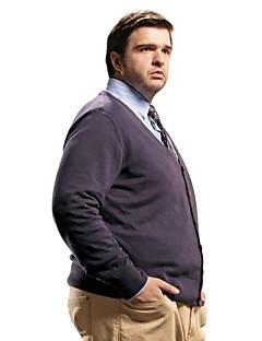 billige Hættetrøjer og sweatshirts til herrer-Herre Plusstørrelser Cardigan - Ensfarvet