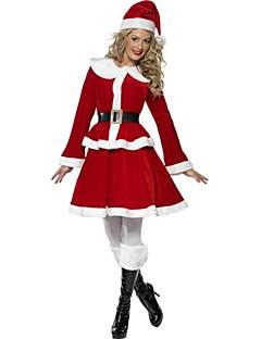 billige julen Kostymer-Nisse drakter Mrs.Claus Cosplay Kostumer Dame Jul Festival / høytid Halloween-kostymer Rød