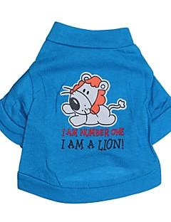 billiga Hundkläder-Katt Hund T-shirt Hundkläder Bokstav & Nummer Tecknat Blå Cotton Kostym För husdjur
