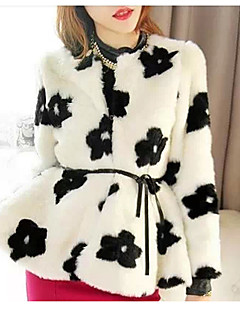Baibian Women All Match Floral Print Fur Thermal Overcoat