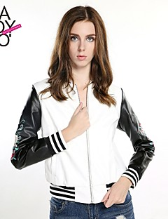 billiga Dampälsar och läder-haoduoyi® Women's Sleeve Embroidery Rose Printed Baseball Style Zipper PU Leather Jacket