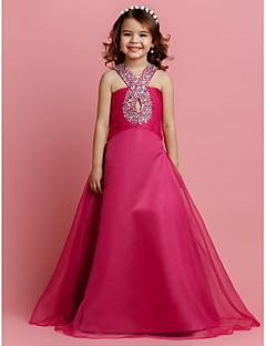 tanie Suknie księżniczki, wróżki-Krój A Sięgająca podłoża Sukienka dla dziewczynki z kwiatami - Organza Bez rękawów W serek z Koraliki Marszczenia przez LAN TING BRIDE®